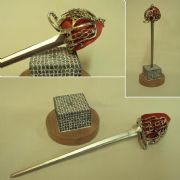 SCOTTISH BASKET HILT SWORD LETTER OPENER WITH STAND